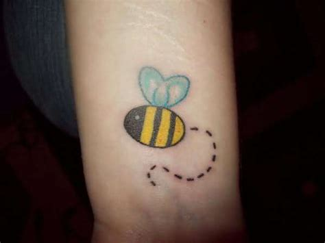 cute wrist tattoo bumblebee on wrist