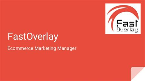 Ecommerce Marketing Manager by Fastoverlay Ecommerce Marketing Manager Presentation