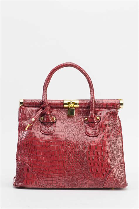 Top Five Mock Croc Bags by Golden Padlock Mock Croc Handbag Just 163 5
