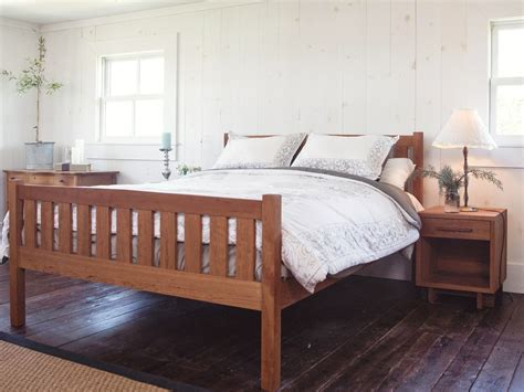 crown mission cherry wood platform bed frame high