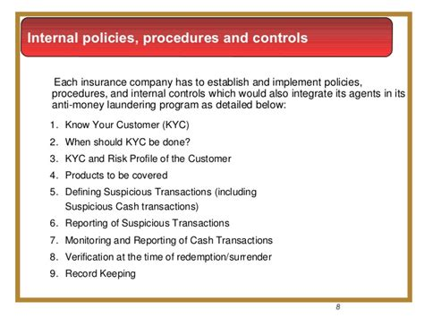 Insurance Anti Money Laundering Aml Policies And Procedures Template