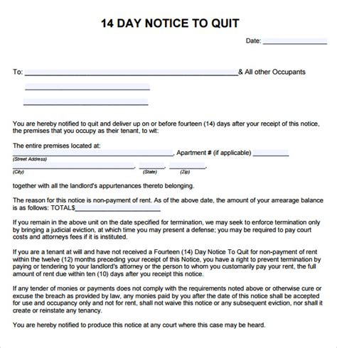 template of notice to quit 10 notice to quit sles sle templates