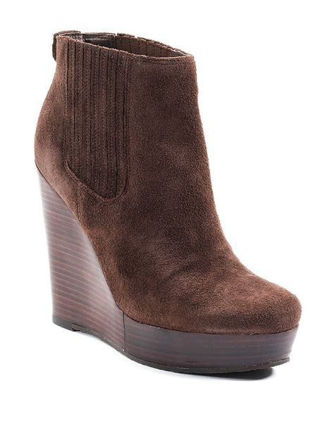 michael michael kors wedge suede ankle boots in brown