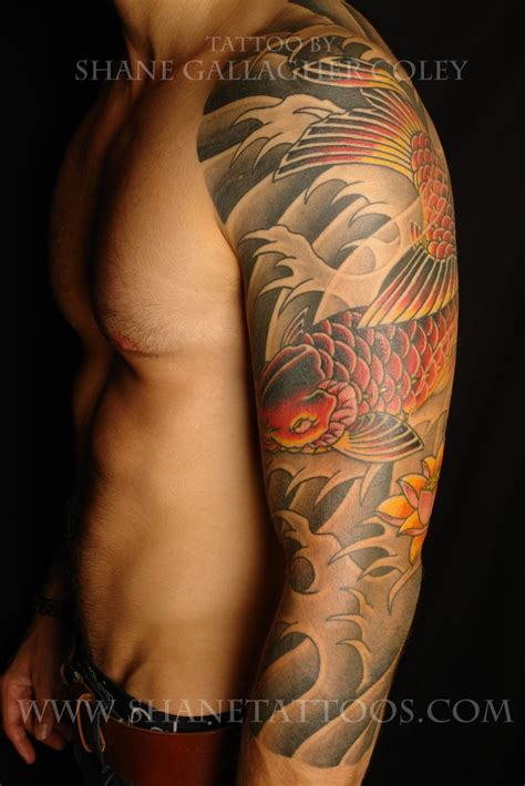 tattoo sleeve background designs shane tattoos japanese koi 3 4 sleeve on shaydon