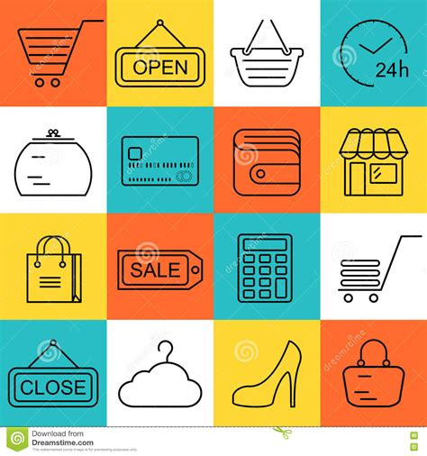 seamless pattern with shopping icons seamless shopping background with black line style icons