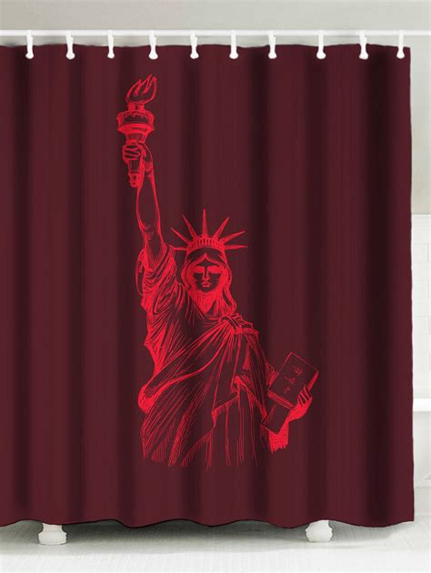 deep red curtains statue of liberty printed bathroom shower curtain in deep