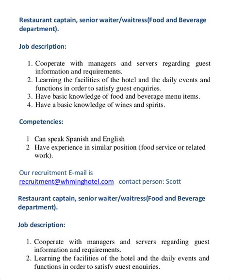 10 waiter job description templates pdf doc free