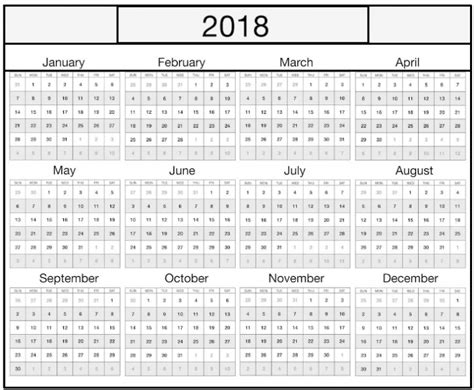 weekly yearly excel 2018 calendar template