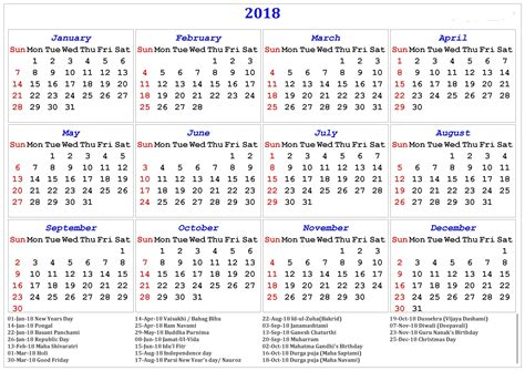 printable calendar with holidays 2018 calendar with holidays