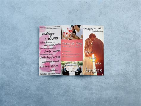 Tri Fold Wedding Brochure by Wedding Planner Tri Fold Brochure And Logo