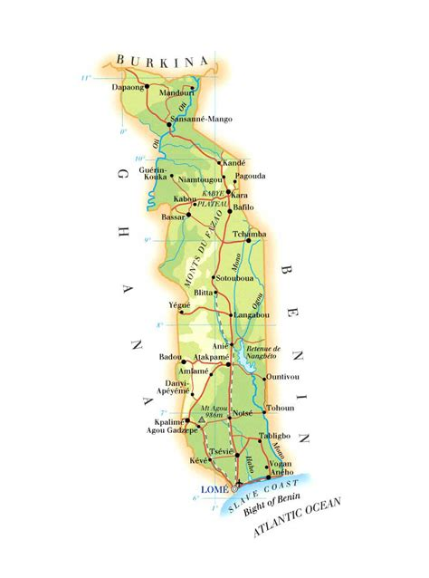 physical map of togo detailed physical and road map of togo togo detailed