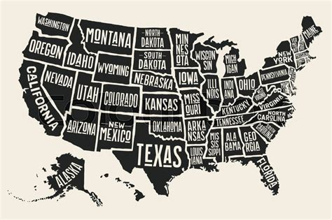 black and white map of the united states poster map of united states of america with state names