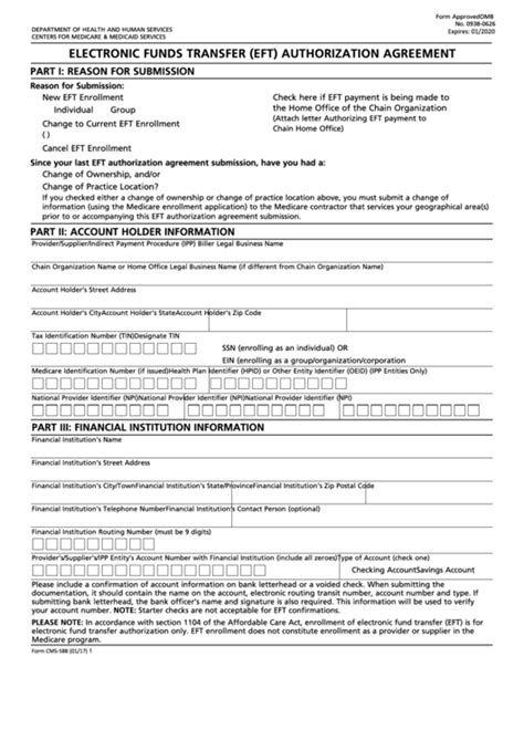 Fillable Form Cms-588 - Electronic Funds Transfer (Eft