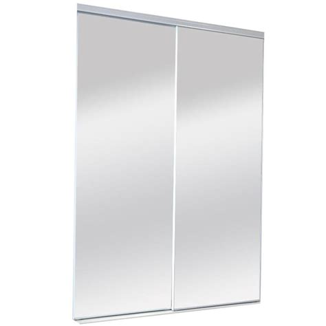 Beveled Mirror Sliding Closet Door Shop Reliabilt Mirror Sliding Closet Interior Door Common 60 In X 80 In Actual 60 In X 80 In
