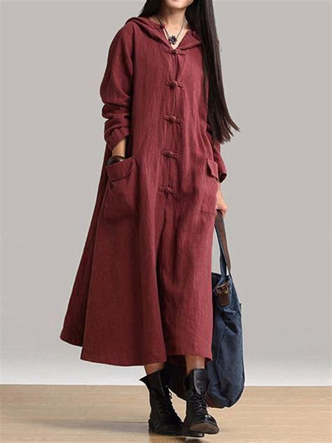Dv Set Maxi Violet Jersey vintage plate buckle hooded dress costs at banggood