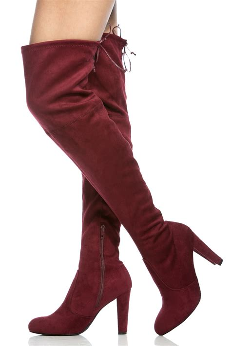 burgundy faux suede chunky thigh high boots cicihot