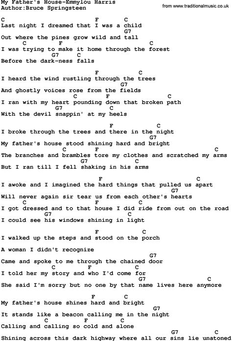 house music song lyrics country music my father s house emmylou harris lyrics and chords