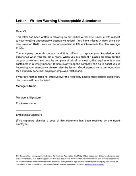 Written Warning For Attendance Letters Free Sle Letters Written Warning Template Attendance