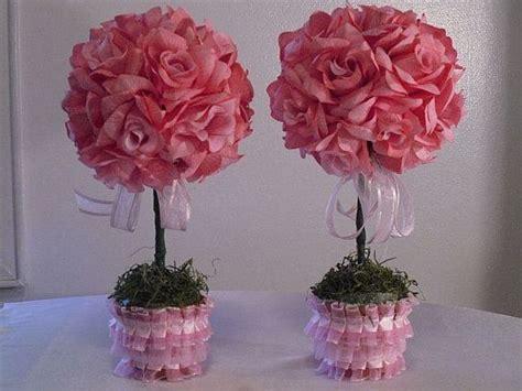 Topiary Flower 2 roses topiaries pink topiaries set of 2 wedding flowers table topiaries