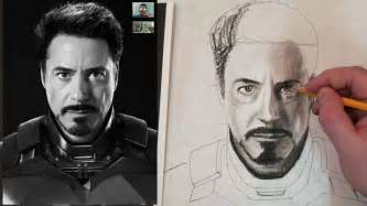 how to draw iron man tony stark step by step charcoal and