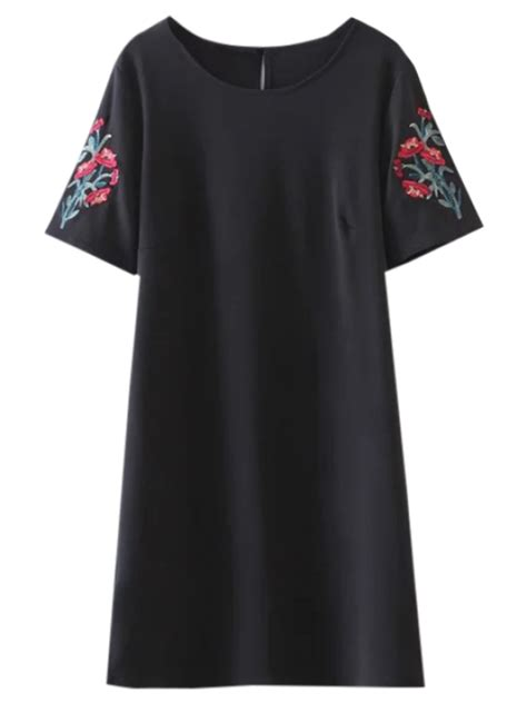 Floral Embroidered A Line Dress casual floral embroidered a line dress black casual