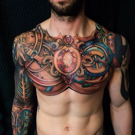 nice chest tattoos for men painted and colored looking chest and sleeve