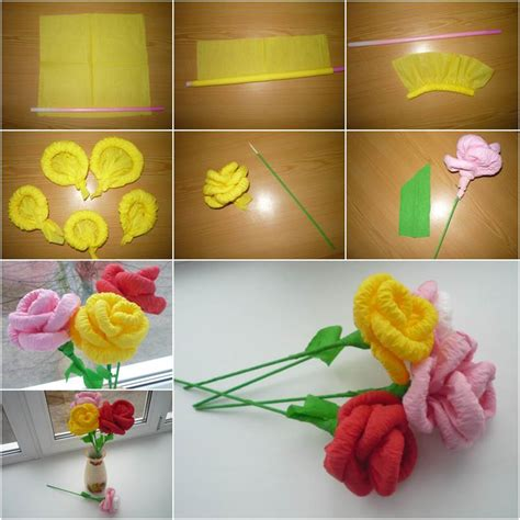 How To Make Easy Flowers Out Of Construction Paper - diy easy napkin paper flowers home diy