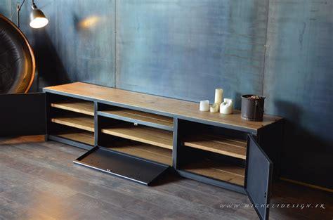 meuble banc tv 3portes en bois et acier micheli design