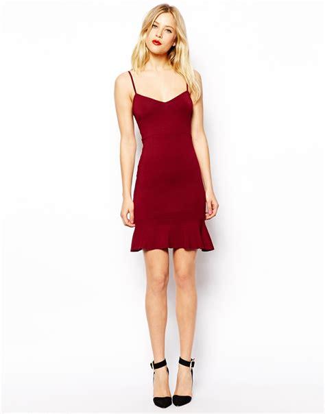 Ledlyni Batik Peplum Mini Dress asos strappy peplum hem mini dress in black lyst