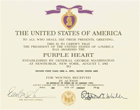 file purple heart certificate jpg wikimedia commons