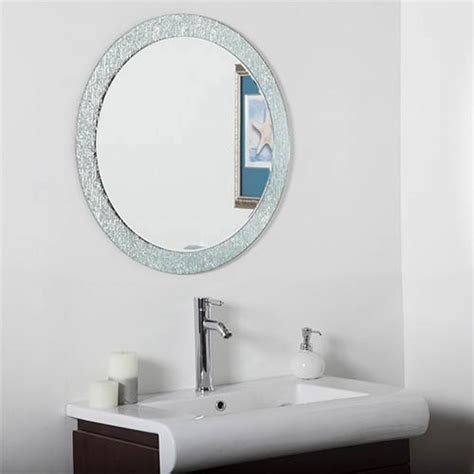 beveled bathroom mirrors molten round beveled frameless bathroom mirror decor