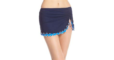 gottex blue lagoon skirted bottoms in blue lyst