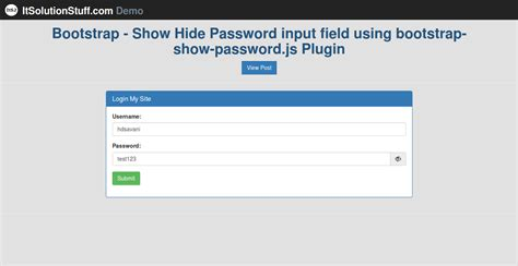 primefaces layout javascript bootstrap show hide toggle password input field using