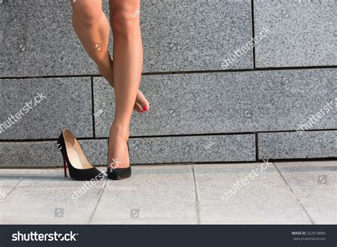 attractive on right thigh put right leg stock photo 322018889