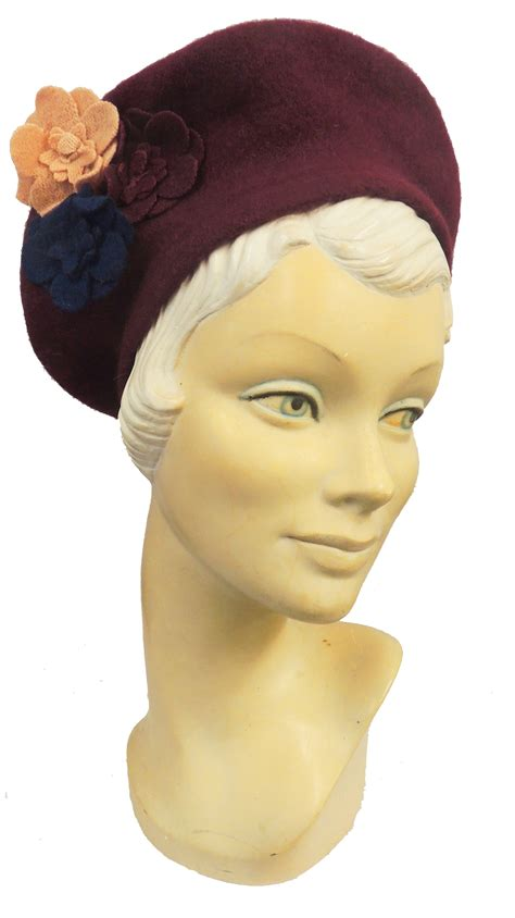 new vtg 1930s 40s ww2 wartime felt flower beret hat