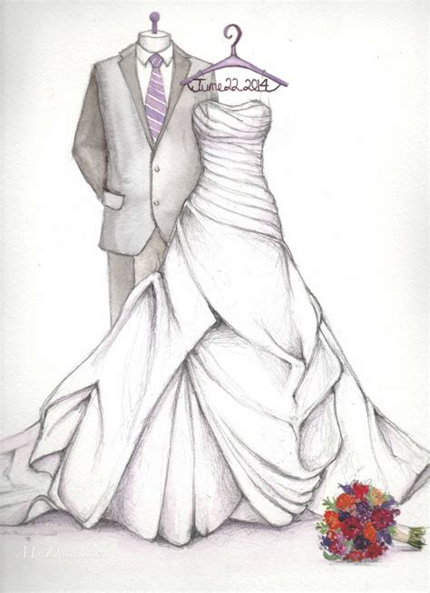 Wedding Sketch by Anniversary Gift Wedding Dress Sketch With Groom