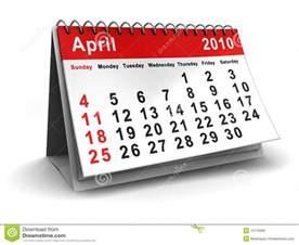 Calendario Abril 2010 Calendario Abril De 2010 Foto De Archivo Imagen