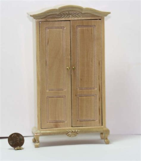 natural wood armoire dollhouse miniature armoire in natural wood ebay