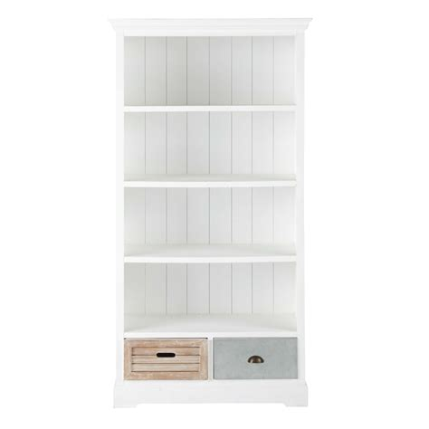 white wooden bookcase wooden bookcase in white w 100cm ouessant maisons du monde