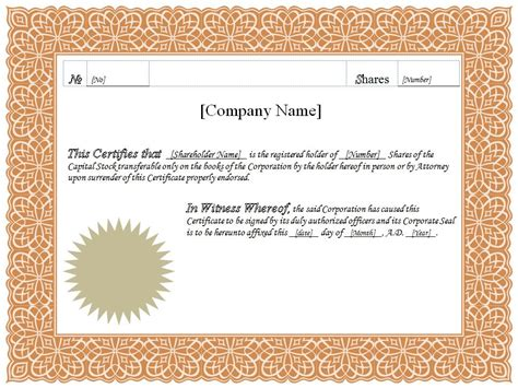 stock certificate template search results for blank stock certificate template
