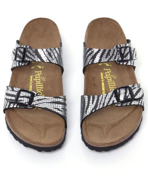 birkenstock sydney sandals birkenstock sydney metallic zebra sandals in silver lyst