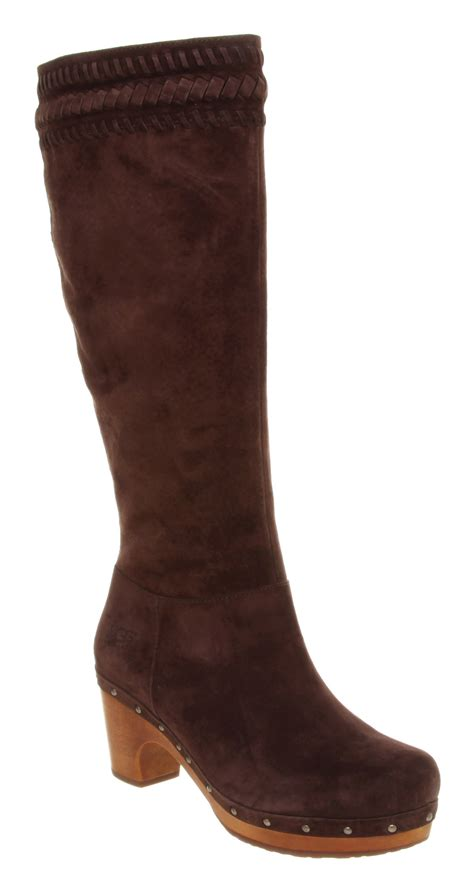 ugg rosabella clog boot chocolate suede in brown