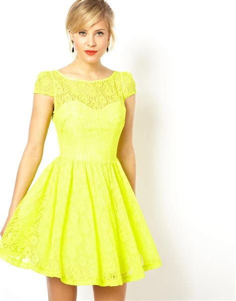 Dress Yellow asos lace sleeved skater dress in yellow lyst