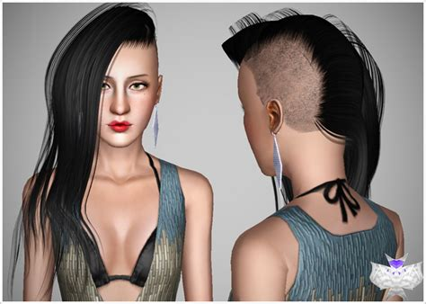 sims 4 half have hair half shaved hairstyle by david sims 3 hairs