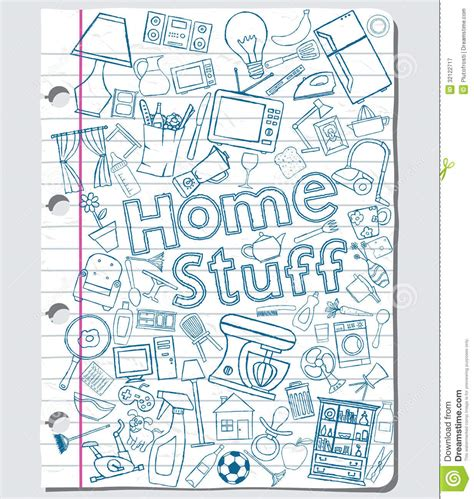 doodle home home stuff stock vector image of doodle outline