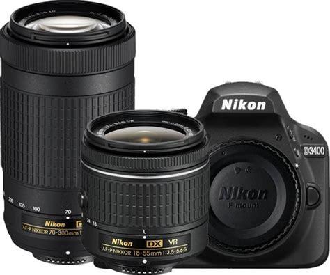 nikon d3400 dslr with dual lens af p dx nikkor 18 55 mm f 3 5 5 6g vr af p dx