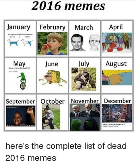 List Of Meme - 2016 memes january february march april may june july