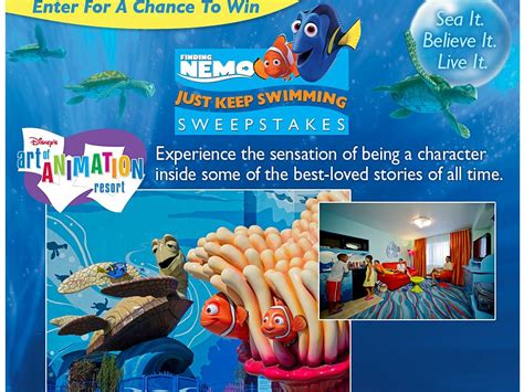 Disney Park Sweepstakes - disney finding nemo just keep swimming sweepstakes