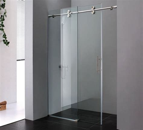 Decorating Minimalist Bathroom With Sliding Shower Doors Frameless Sliding Glass Shower Doors