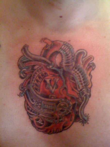 biomechanical heart tattoo biomechanical